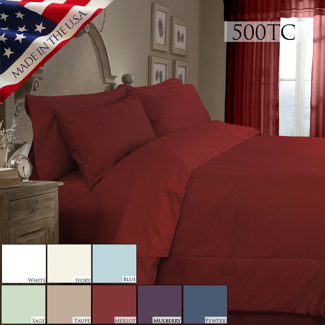 Veratex Supreme Sateen 500 Solid Comforter Set